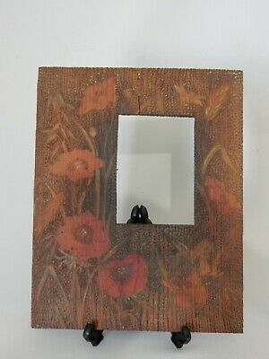 Antique Vintage Australian Timber Pokerwork Poker Work Photo Frame Poppy Flowers