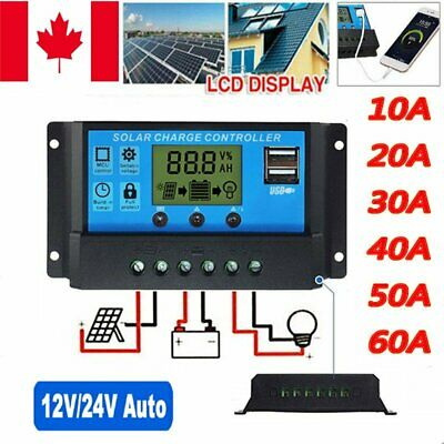 10A-60A 12V/24V Solar Panel Controller Regulator Charge Battery Dual USB LCD PWM