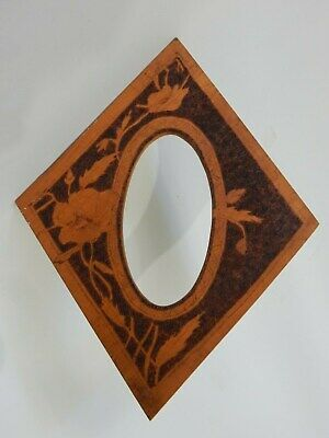 Antique Vintage Australian Timber Pokerwork Poker Work Diamond Picture Frame
