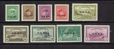 Canada - 1949 Peace Issue 'Ohms' Overprints - Scott O1 To O10 - Mh/Mnh See Note