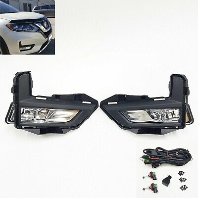 For Nissan Rogue 2017-2018 S SL SV Fog Light Lamp Set with Switch Bezel Wires