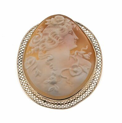 Portrait Of A Goddess - Vintage 14K Signed Cameo Brooch