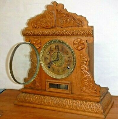 Ingraham Antique Cabinet No.15 Mantel Shelf Clock Oak Case Runs Strikes 8 Day