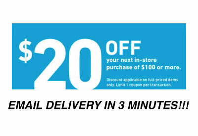 Three 3x Lowes $20 OFF $100Coupons-INSTORE ONLY -Fast-Delivery--