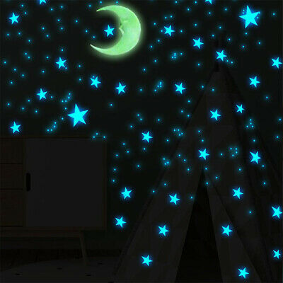 100pcs DIY Glow In The Dark Stars Moon Wall Sticker Home Bedroom Decoration