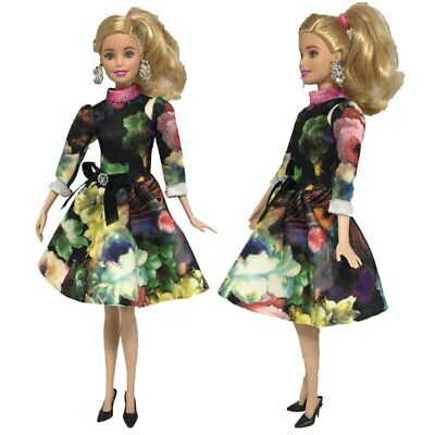Fashion Clothes For Barbie Dolls Green Flower Long Sleeve Short Dresses Gift Toy