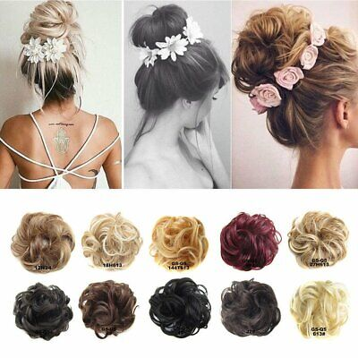 Women Pretty Messy Bun Hair Curly Wavy Piece Clip Real Natural Hair Extensions