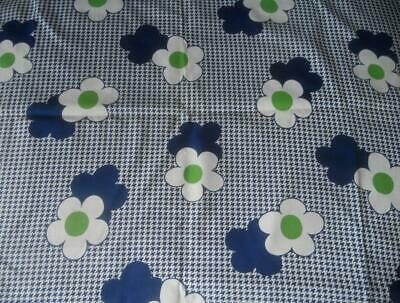 3 M X 91 Cms Vintage 1960'S Cotton Fabric White Daisies Blue White Houndstooth