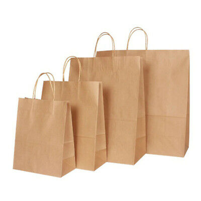 "Twisted Handles BROWN Kraft Paper Party Wedding Gifts Loot Bags in ""6 Sizes"""