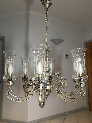 Stunning Vintage 6 Light Branch Arm Pewter Chandelier  Etched Glass Gothic