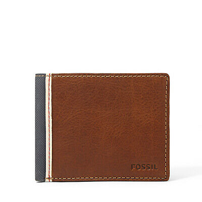 Men/'s Rocky Sand Fossil Prints Bi-Fold Genuine Leather Wallet with Photo Holder