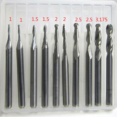 Milling End mills Tools Cutting Cutter Ball Nose CNC Engraving Router Set