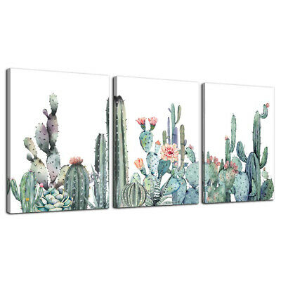 Canvas Wall Art for bedroom living room 12x16inches*3pcs, Green Plants Cactus