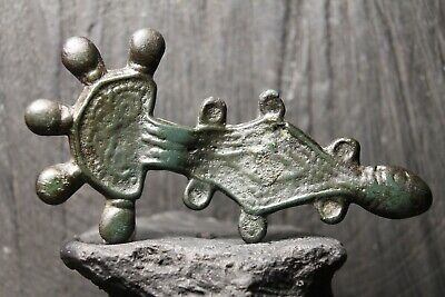 Rare Ancient Scandinavian Bronze Fibula, Antique Brooch, 5th-8th century AD.