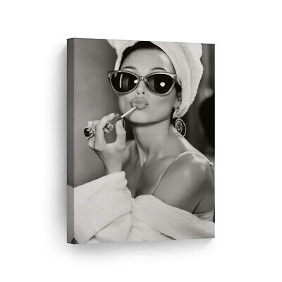 "SmileArtDesign Audrey Hepburn Wall Art Make Up 12"" x 8"" - Ready to Hang"