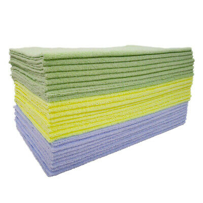 Polyte Microfiber Cleaning 16x16, 24 Pack, Premium, Light Blue,Green,Yellow