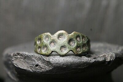 Ancient Primitive Bronze Ring, Authentic Viking Artifact, 6th-11th Century AD.
