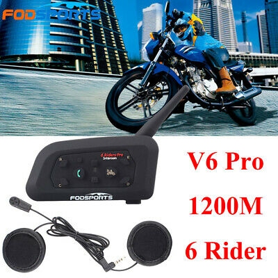 V6 1200m Motorrad Headset Bluetooth Intercom Kabellos Helm Sprechanlage 6 Riders