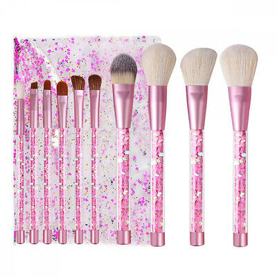 Kingtree Makeup Brushes with Clear Bag, 10PCS Pink Quicksand Sequins Handle...