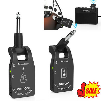 Electric Bass 2.4G 6CH Wireless Guitar System Transmitter Receiver Rechargeable