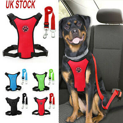 Pet Breathable Air Mesh Puppy Dog Car Harness&Seat belt Clip Lead for Dogs S M L