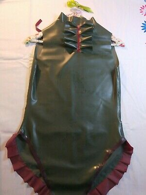100% Latex olive green and plum body suit size 12-16