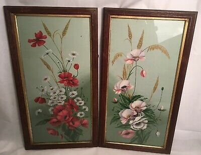 Antique Late 19th Century Mixed Media Botanical Studies Poppies Daisies Corn