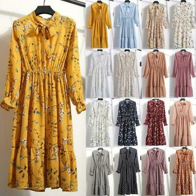 Women Floral Vintage Boho Casual Long Sleeve Party Chiffon Spring Maxi Dress