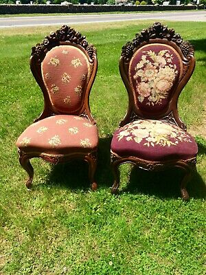Pair John Henry Belter Rosewood Antique Victorian Chairs, Rosalie Pattern
