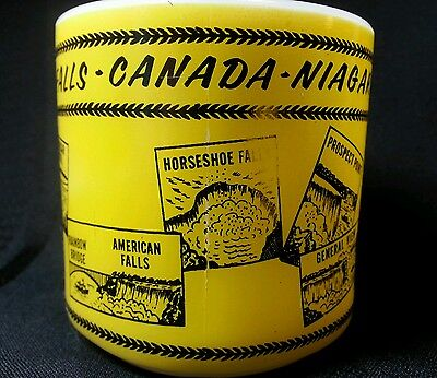 Vintage Federal Milk Glass Yellow Coffee Mug Cup Niagara Falls Canada Souvenir