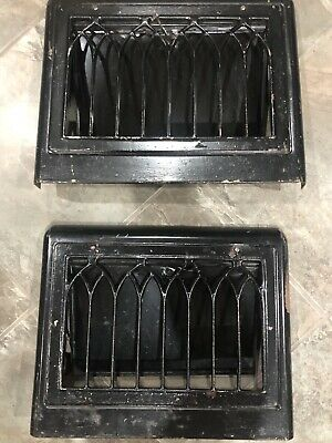 Set of 2 Vintage Metal Vents Grate Covers Heat Floor Register Victorian Rustic