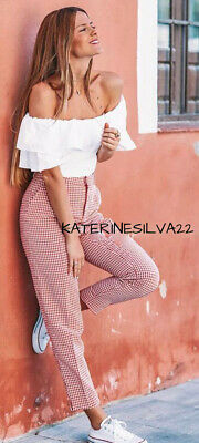 Zara New Woman Ss19 Pink / White Gingham Trousers Ref:7852/578