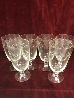 6  pieces Vintage Cordial Crystal etched stem glasses wheat 5 inch tall wine