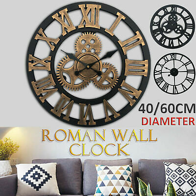 Large Outdoor Garden Wall Clock Metal Roman Numeral 40, 60cm Round Face Black UK