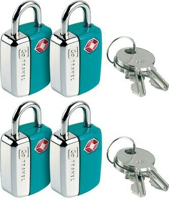 Pack Of 4 Blue TSA Approved Luggage Locks With Keys For Travel Keyed Alike