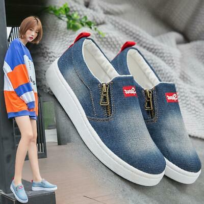 Womens Girls Casual Slip On Canvas Flats Skate Shoes Loafers Sneakers Fashion