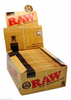 Authentic RAW Classic King Size Natural Rolling Smoking Paper Skins Rizla