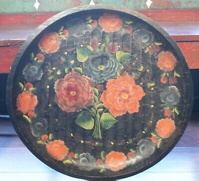 """Vintage 1940's Large 22 1/2""""D Hand Carved Painted Colorful Wooden Batea TrayBowl"""