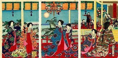 "Lovely 1886 Meiji era CHIKANOBU Japanese woodblock print: ""MOON VIEWING BANQUET"""