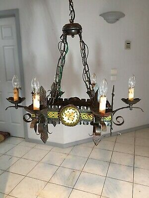 2 X Gothic Medieval Look Vintage 6 Light Chandelier 1970'S