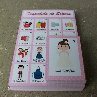 LOTERIA BACHELORETTE MEXICAN Bingo Card Spanish Lottery Game