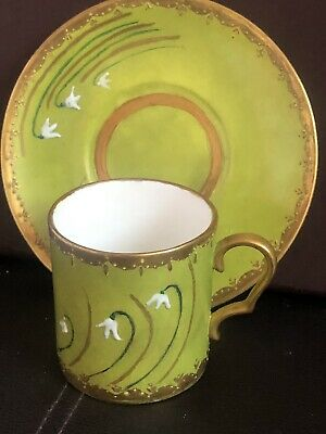 Antique Porcelain Coffee Cup & Saucer Snowdrops On Green & Gilded Ground