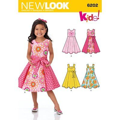 New Look Sewing Pattern 6202 Girls Sz 3-8 Dress Flared Circle Skirt and Sash
