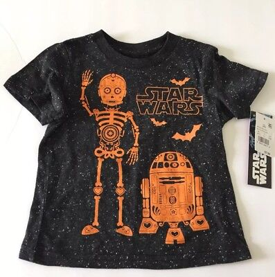 Disney Star Wars Toddler Boy's R2D2 & C3PO Black Speckle Halloween Shirt 18M