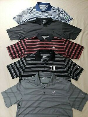 Nice Lot 5 Adidas Nike Golf Polo Mens Striped Shirts L Polyester