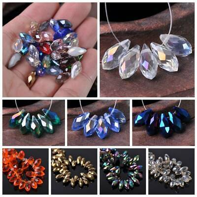 20pcs 6x12mm Faceted Teardrop Glass Crystal Loose Spacer Pendants Beads Jewelry