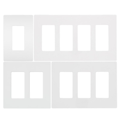 Screwless Wallplate 1-4 Gang, White, Switch Plate, Cover for Outlets