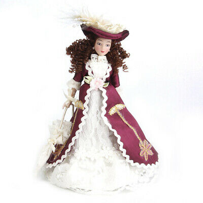 1:12 Miniature porcelain doll house dolls Senora clasica with sombrero 1pz Z8H9