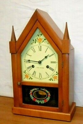 Vintage Seth Thomas Sharon Gothic Cottage Steeple 8 Day Chime Clock Working  A+