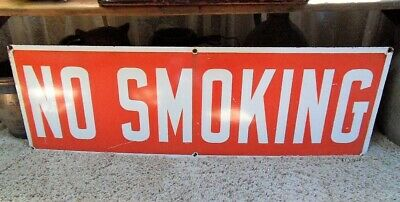 """Vintage NO SMOKING Porcelain Single Sided Sign  Ready Made Sign Co NY 36"""" x 12"""""""